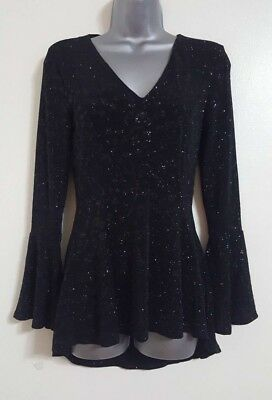 NEW EX QUIZ Black Silver Sparky Frill Peplum Party Evening Blouse Size 10-18