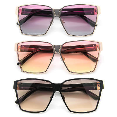 Oversized Square Sunglasses Metal & Plastic Frame Color Lens Women Fashion