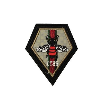 Diamond Bee Flag (Iron On) Embroidery Applique Patch Sew Iron Badge