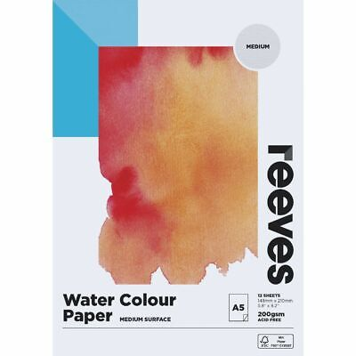 Reeves Watercolour Pad Cold Pressed Med 200gsm 12 Sheets A5