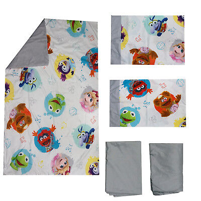 Disney Muppet Babies Toddler Bedding set Kermit,Piggy,Gonzo,Fozzie & Animal Rare