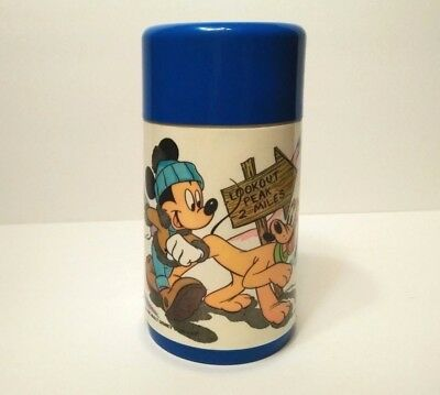 VINTAGE Mickey Mouse & Pluto THERMOS ~ 80s 90s DISNEY Aladdin Lunch Cup Bottle
