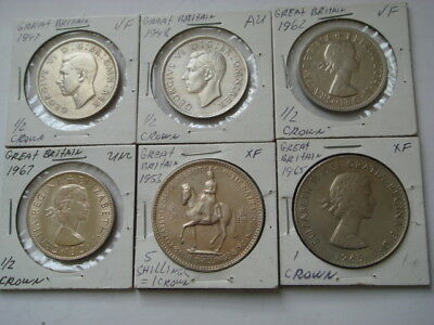 1947,1948,1962,1967,1953,1965 GREAT BRITAIN -6 Coins.
