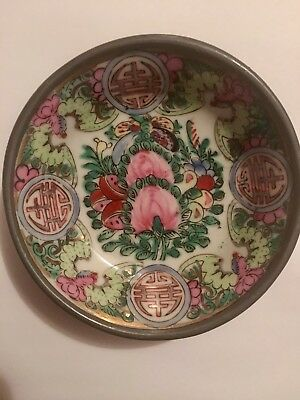 "YT Japanese Porcelain Bowl Decorated in Hong Kong Floral Brass Base 4"" In Diam."