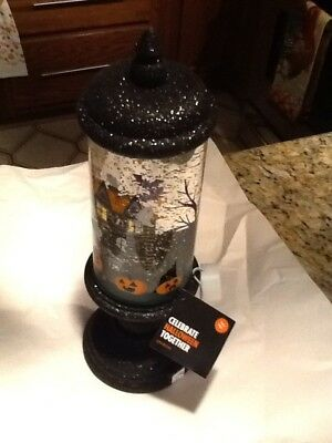 "Haunted House Halloween Spinning/Lighted LED Glitter Water Globe decor 13"" Tall"