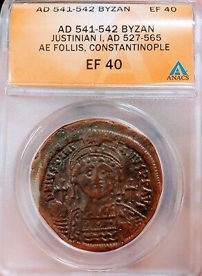 ANACS Ancient Byzantine Coin Justinian I Follis 541AD Huge Coin !!!