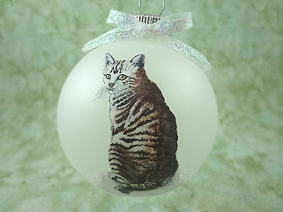 C002 Hand-made Christmas Ornament cat kitten - regal sitting gray tabby tiger