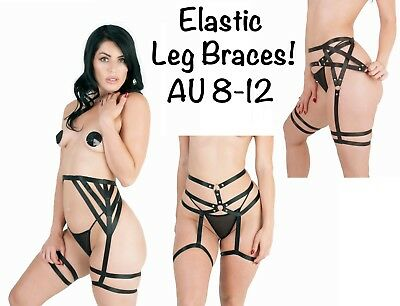 Womens Leg Harness Brace Cage Strappy Garter Suspender High Quality Elastic Goth