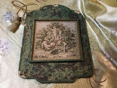 """9"""" X 12"""" Framed Vintage France Tapestry Wall Hanging Antique Courting Couple"""