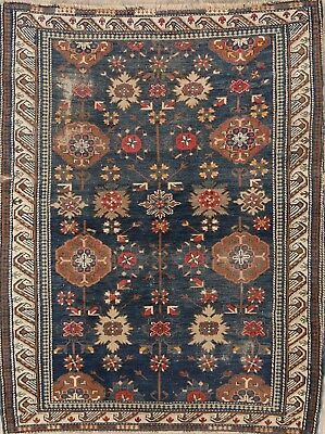 Fine Pre1900 Antique 4X5 Wool Kazak Shirvan Russian Oriental Area Rug