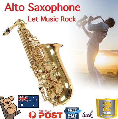 Professional Eb Alto Sax Saxophone Paint Gold with Case and Accessories Gift AU