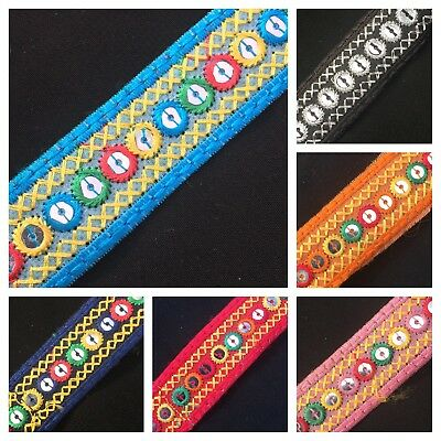 (25mm) Sequin Mirror Embroidered Multi Ethnic Braid/Trim/Lace x 1 Metre