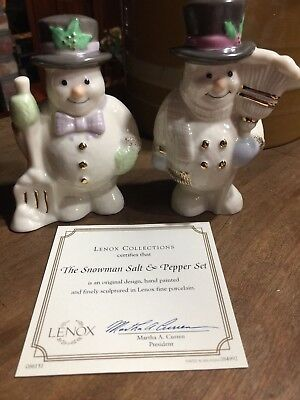 "Lenox Collectible ""the Snowman Salt & Pepper Shakers"" Nib (B)"