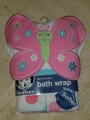 New GERBER Baby Girl Terry Hooded Clothes Gift Set Wrap Towel Pink Butterfly NWT