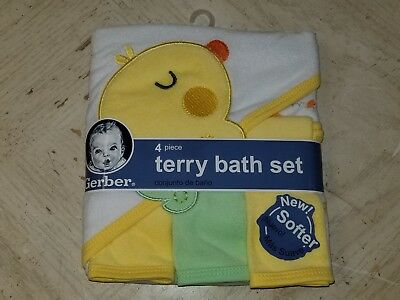 GERBER Baby Terry Hooded 4-Piece Bath Clothes Gift Set Wrap Towel & Washcloths!