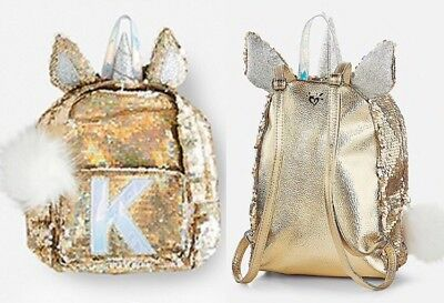 """Justice Initial """"K"""" Mini Unicorn Backpack Reversible Flip Sequins Gold NWT Girls"""