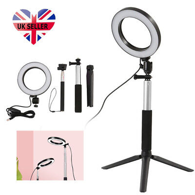 Dimmable Studio Camera Ring Lights Photo Phone Video Fill Lamp LED 3 Modes Black