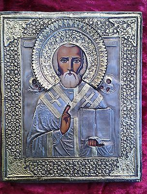Old Russian Orthodox hand-painted Icon of St. Nicholas miracle worker.