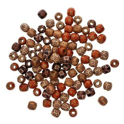 100pcs Mixed Large Hole Wooden-Beads Jewelry-Charms Crafts Making DIY nb