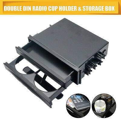 Universal Double Din Radio Pocket Drink-Cup Holder +Storage Box Fit Car Auto