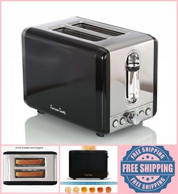 BLACK 2 Slice Electric Toaster Stainless Steel Wide Slots Bread 6 Setting Shade