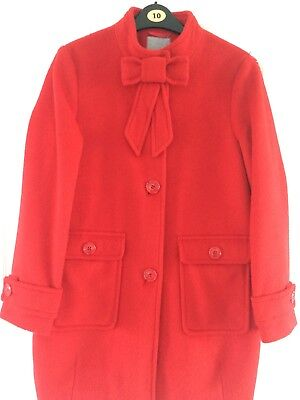 Next Signature Ladies/girls Red Coat/Jacket With Bow Detail-Size 12yrs Or 8-10