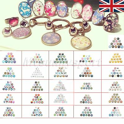 "UK STOCK 0.98"" Clear Glass Cabochon Dome Round for DIY Craft 10pcs 26 Patterns"