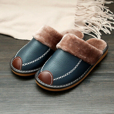 Men Winter Indoor Fur Lining Warm Soft Leather Slippers Waterproof Comfy Shoes