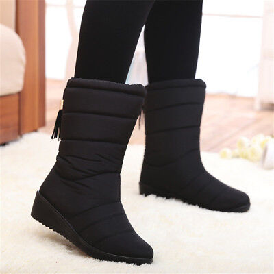 AU Women's Winter Waterproof Faux Fur Lined Mid Calf Wedge Boots Snow Soft Shoes