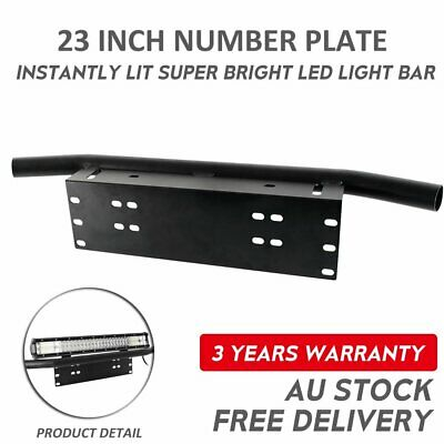 23'' Bull Bar Front Bumper License Plate Mount Bracket LED Light Holder Black