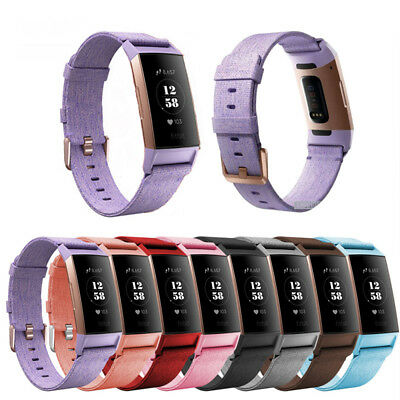 Soft Woven Fabric Canvas Sport Strap Smart Watch Wrist Band For Fitbit charge 3