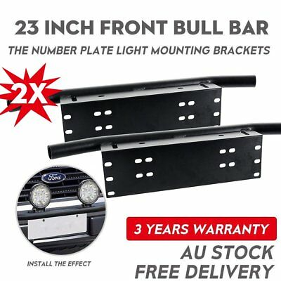 2X Bull Bar Front Bumper License Plate Mount Bracket LED Light Holder Offroad