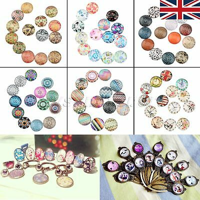 "UK STOCK 0.47"" Clear Glass Cabochon Dome Round Ideal for DIY 10/50pcs 26 Pattern"