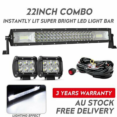 "22Inch LED Light Bar SPOT FLOOD Combo+2x 4"" CREE PODS OFFROAD SUV 4WD ATV JEEP"