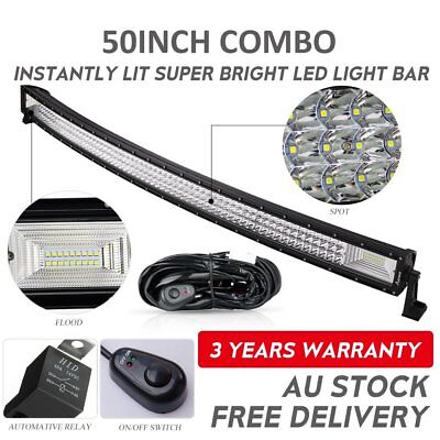 50inch Curved Cree LED Light Bar Spot Flood Combo Beam Work Driving 4WD + Wire