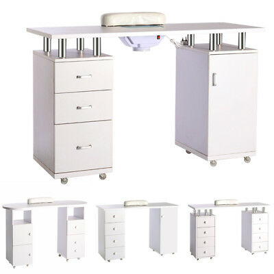 Manicure Table Salon Nail Station with Chest of Drawer Shelf Chrome Finish 4Type