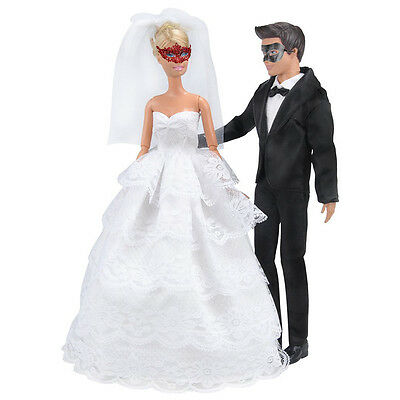 1 Set Wedding Gown Dress Clothes+ Formal Suit Outfit For Ken Doll Nice