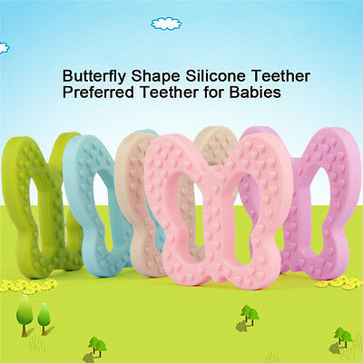 Food Silicone Butterfly-shaped Baby Teething Toy Food Grade Teether Grind Teeth
