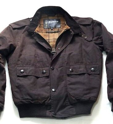 Rare £215 Barbour Waxed Flyer Jacket - Small - Military Steve Mcqueen Style -