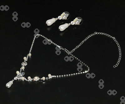 WE Bridal Bridesmaid Pearl Necklace Drop Earrings Silver Plated Wedding Jewelery