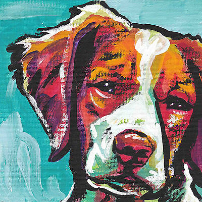 """BRITTANY spaniel dog portrait print of pop art bright colorful painting 8x8"""""""