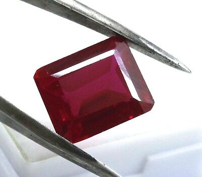 13.60 Ct Natural Mozambique Blood Red Ruby Manik Emerald Cut Gems Ggl Certified