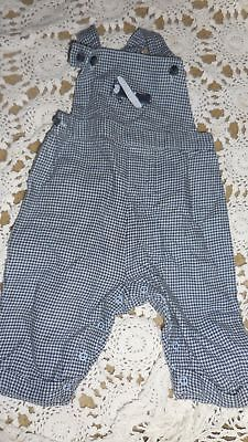 euc Janie and Jack blue flannel airplane overall baby  boy 0 m 3 m free ship USA
