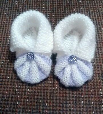 Handmade knitted baby booties brand new lilac purple & white