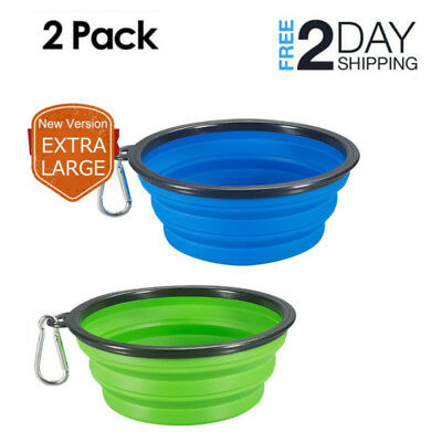 Dog Bowl Food 2 pack Extra Large Size Collapsible Grade Silicone BPA Traveling