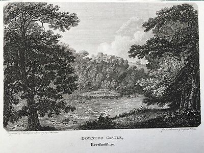 1801 Antique Print; Downton Castle, Herefordshire after Thomas Hearne