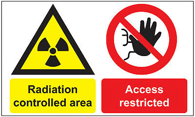 RADIATION Controlled Area Access RESTRICTED 100 x 150mm(L1052)
