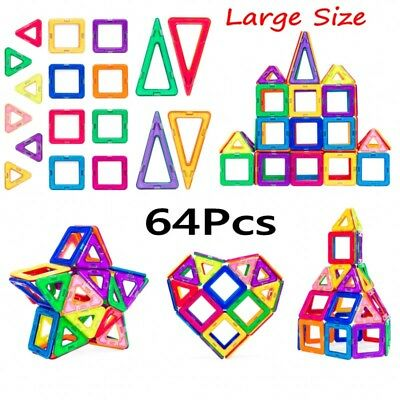 64Pcs Kids Magnetic Building Block Tiles- Multicolor