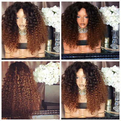 Womens Blonde Kinky Curly Wigs Fluffy Afro Wig Synthetic Wavy Hair Wig Party Bob