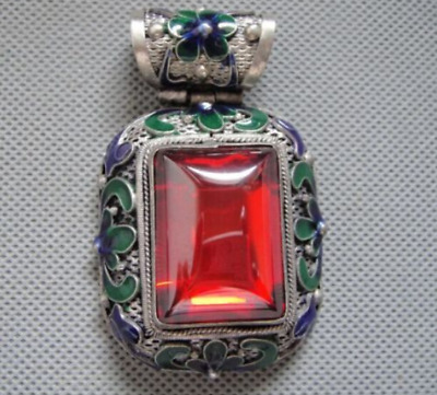 Antique Chinese Silver & Enamel Carved Flowers Mosaic Red Zircon Pendant